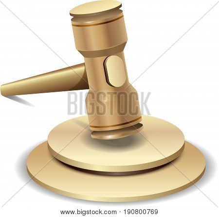 Auction hammer. Law judge gavel symbol. Isolated image