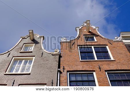 a detail of the gable ends of dutch canal side houses in Amsterdam