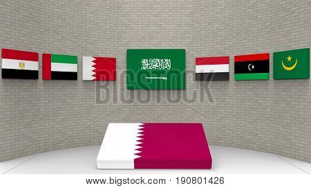 3d rendering of some country of middle east flags on the wall with qatar country flag on the floor. as Saudi Arabia Egypt Bahrain the UAE Yemen eastern Libya and Mauritanie have a wall to banned or boycott Qatar concept.
