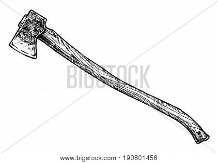 Vector hand drawn illustration of splitting maul in vintage engraved style. isolated on white background. Side view.