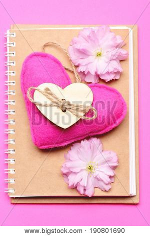 Notebook Made In Eco Design And Soft Felt Heart