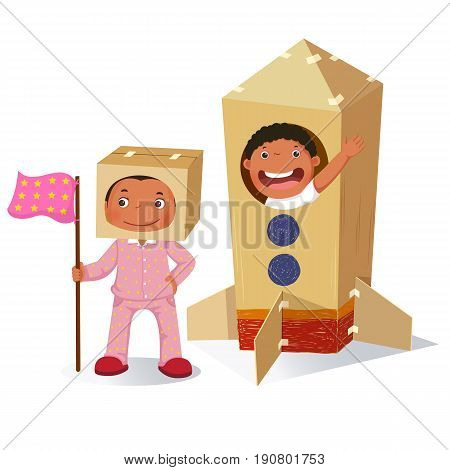 Creative girl playing as astronaut and boy in rocket made of cardboard box