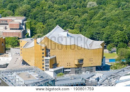 Berlin Germany - june 9 2017: Aerial view on the Berliner Philharmonie a concert hall in Berlin Germany.