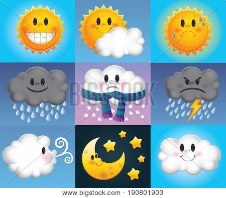 Nine weather symbols which are made up of cartoon suns, clouds and moons with cute faces
