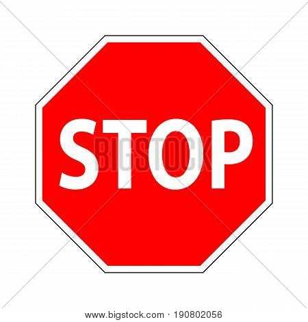 Red Stop Sign. Traffic Regulatory Prohibitory Stop Symbol