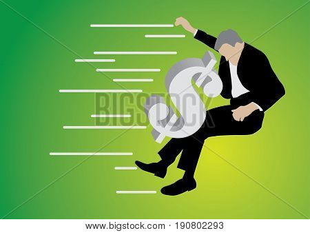 businessman pushed back by big dollar sign on green background