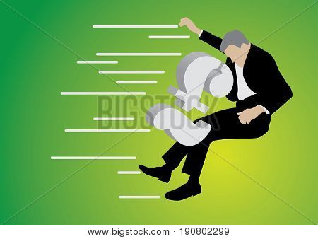 businessman pushed back by big pound sterling sign on green background