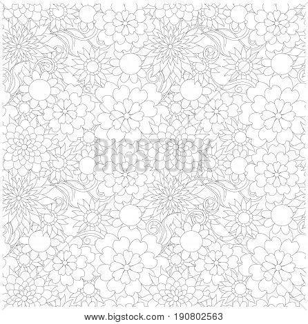 Seamless floral monochrome pattern stock vector illustration