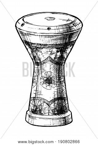 Vector hand drawn illustration of goblet drum (egyptian tabla) in vintage engraved style. isolated on white background.