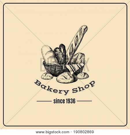 Hand drawn illustration of basket with different kinds of bread isolated . Bakery product. Template for poster business card banner label and icon for bakery shop and menu. Bakery hand sketched.