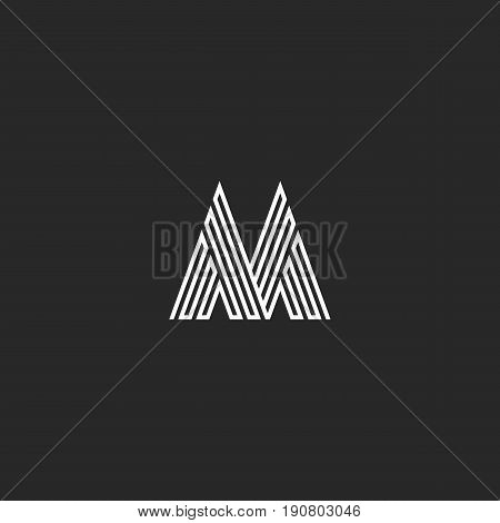 Letter M Logo Hipster Initial Mockup, Thin Broken Line Monogram Decoration, Linear Black And White D