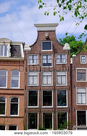 a detail of the gable ends of a dutch canal side house in Amsterdam