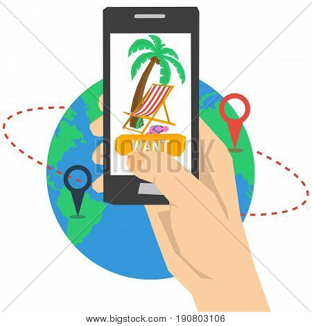 Vector summertime traveling concept. Route on globe with two pointers and hand with smart phone and button WANT, palm tree, deck chair in flat style