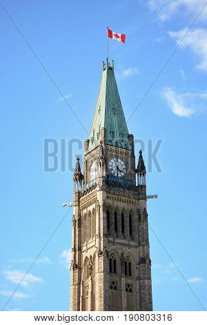The Peace Tower on Parliament Hill in Ottawa, Canada.