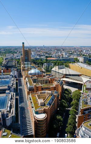 Skyline of Berlin city center - Aerial view over Berlin from Potsdamer Platz poster