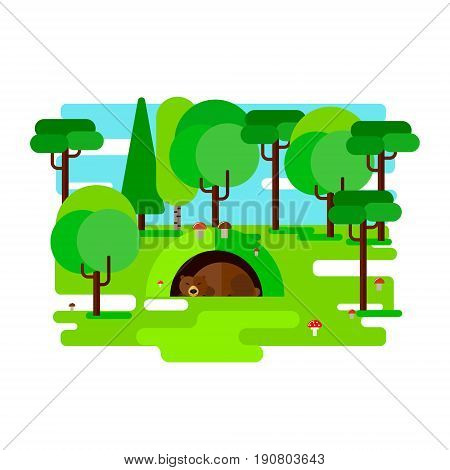 The bear dozing in a den. Vector illustration.