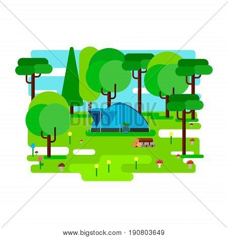 Camp in wood. Vector illustration. Flat style.