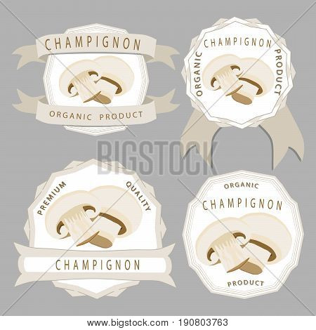 Abstract vector illustration of logo for whole ripe mushroom champignon cut sliced product on background. Mushroom drawing consisting of tag label vegetable ripe food. Eat fresh champignons mushrooms.
