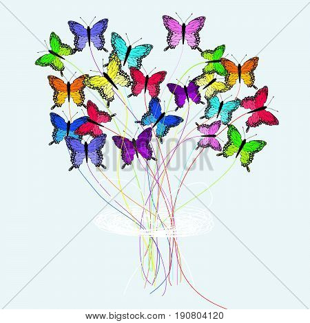Illustration of a bouquet of colored butterflies