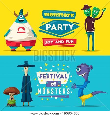 Funny monsters. Cartoon vector illustration. Alien character. Friendly person. Imagination bright mutants