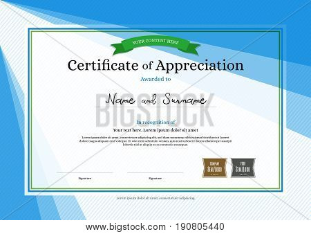 Modern certificate of appreciation template on abstract background