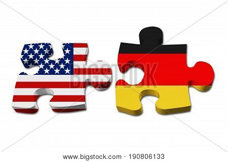 Relationship between the USA and Germany Two puzzle pieces with the flags of USA and Germany isolated over white 3D Illustration
