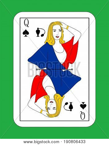 The beautiful card of the Queen of peaks in classic style.