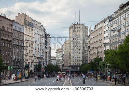 BELGRADE SERBIA - JUNE 10 2017: Palace Albanija (Palata Albanija) in the center of Belgrade in the afternoon. This building is one of the architectural landmarks of Terazije district and a symbol of the communist design in the city