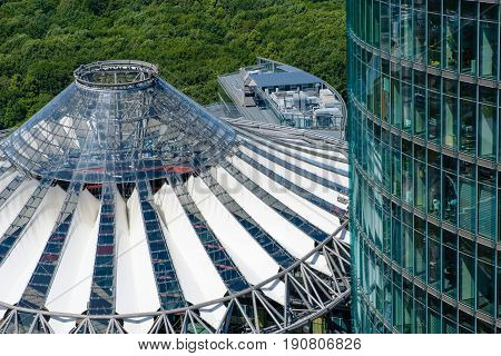 Modern Architecture At Potsdamer Platz - Roof Of The Sony Center And Office Headquarter Of The Deuts