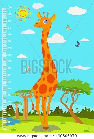 Vector mural for measuring growth with a giraffe on a nature background. Suitable for children's playrooms and in the home, for schools and children's hospitals.