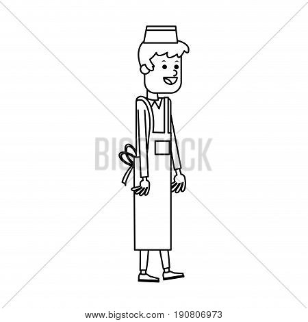young man waiter cook or cashier fast food related icon image vector illustration design  single black line