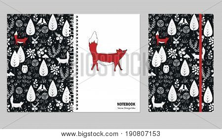 Cover design for notebooks or scrapbooks with doodle forest and cute fox. Cover that make you happy and inspired. Vector illustration.