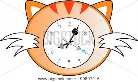 A wall clock in cat shape and style.