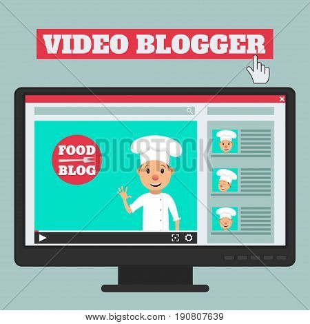 Food blog. Video blogger concept. Male blogger channel. Computer screen with video player. Vector illustration in flat style