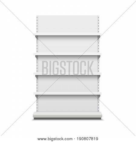 White realistic empty vector store shelves. Showcase display. Retail shelf rack.
