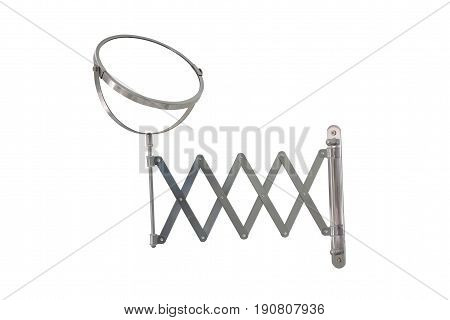 Round washroom adjustable mirror isolated on white background clipping path