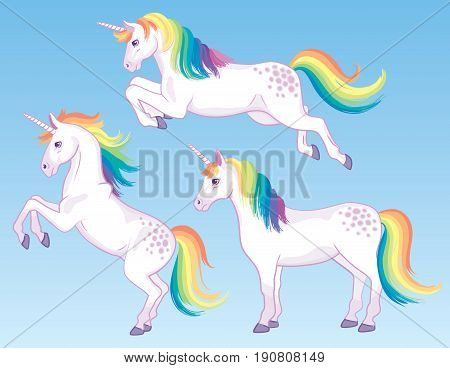A set of three cartoon unicorns with rainbow manes and tails. Vector Illustration.