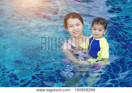 Baby Boy First Time In A Swimming Pool