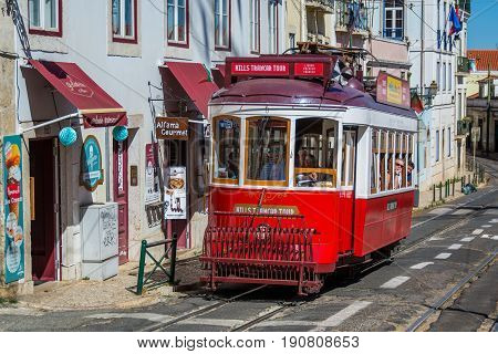 Lisbon Portugal. 05 June 2017.View of Lisbon town tram car in Alfama. Lisbon Portugal. photography by Ricardo Rocha.
