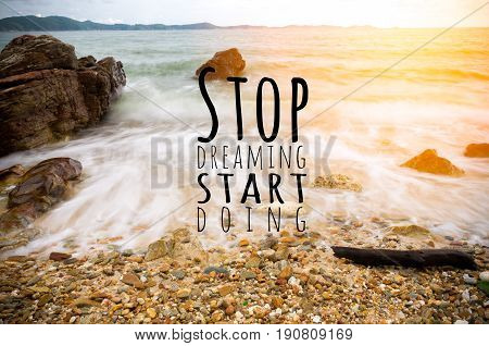 Inspirational quote by unknown source on beach with wave moving motion to the shore. show slow motion water effect.