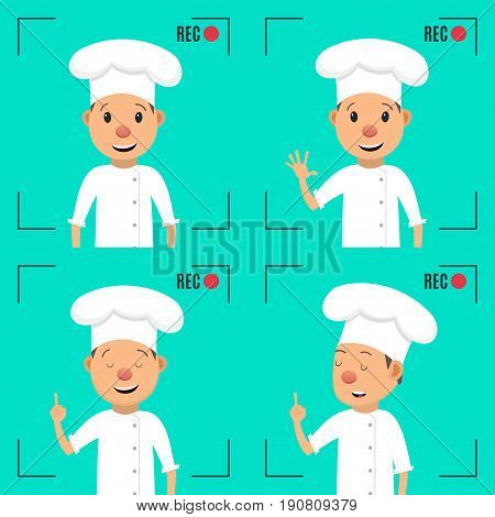 Food blog. Video blogger concept. Male blogger character. Male blogger channel. Camera shooting screen. Vector illustration in flat style