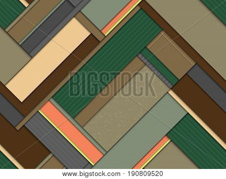 stylized modern seamless pattern vector texture in geometric bands imitating bookmarks organizer