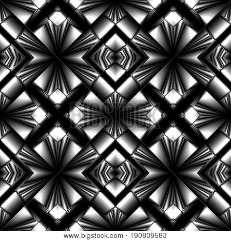 stylish seamless pattern made of metal reflecting elements rhombic structure