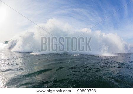 Wave closeup inside crashing exploding white water ocean swimming photo
