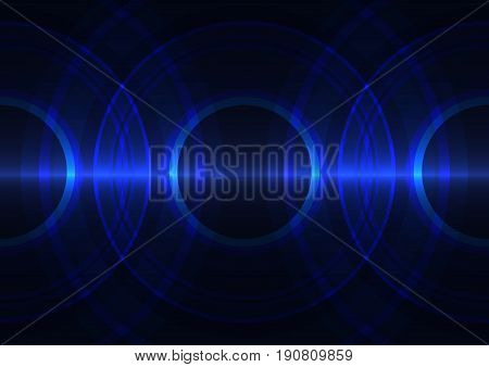 frequency wave technology abstract background, digital circle overlap  template, vector illustration