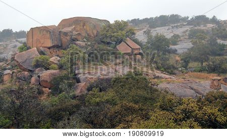 Enchanted Rock State Natural Area, Texas, in rainy and foggy day
