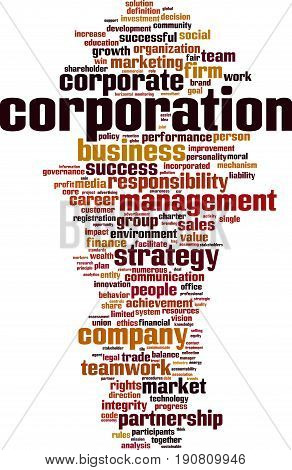 Corporation word cloud concept. Vector illustration on white