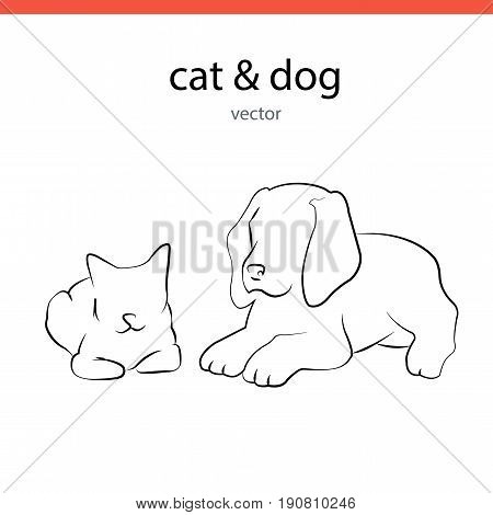 Cat and dog silhouette vectors lines. Flat illustration