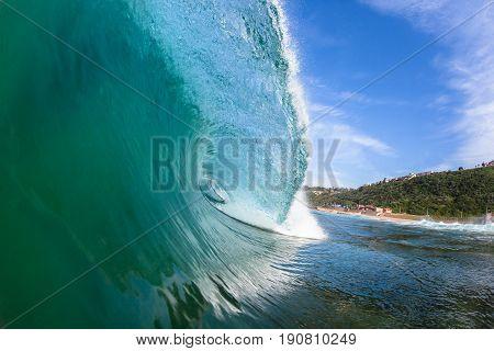 Wave closeup inside hollow crashing water ocean swimming photo