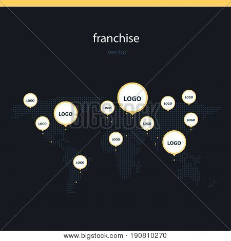 Franchise worldwide flat vector illustration. Business partnership